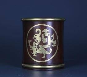Chinese Bronze Brush Pot, Estate Collections