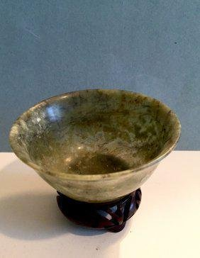Chinese Jade Bowl w/ stand, Qing Dynasty