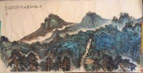 Chinese Ink on Paper Green Landscape Painting