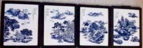 Four Chinese Landscpe,Portrait Porcelian Painting