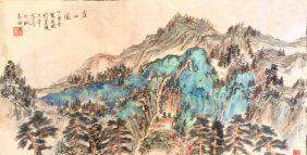 Chinese Paper Green Landscape Scroll Painting