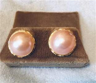 Pink Mabe Pearl Earring, Estate Jewelry