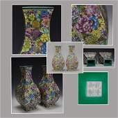 One Chinese Famile Rose Vase, marked.