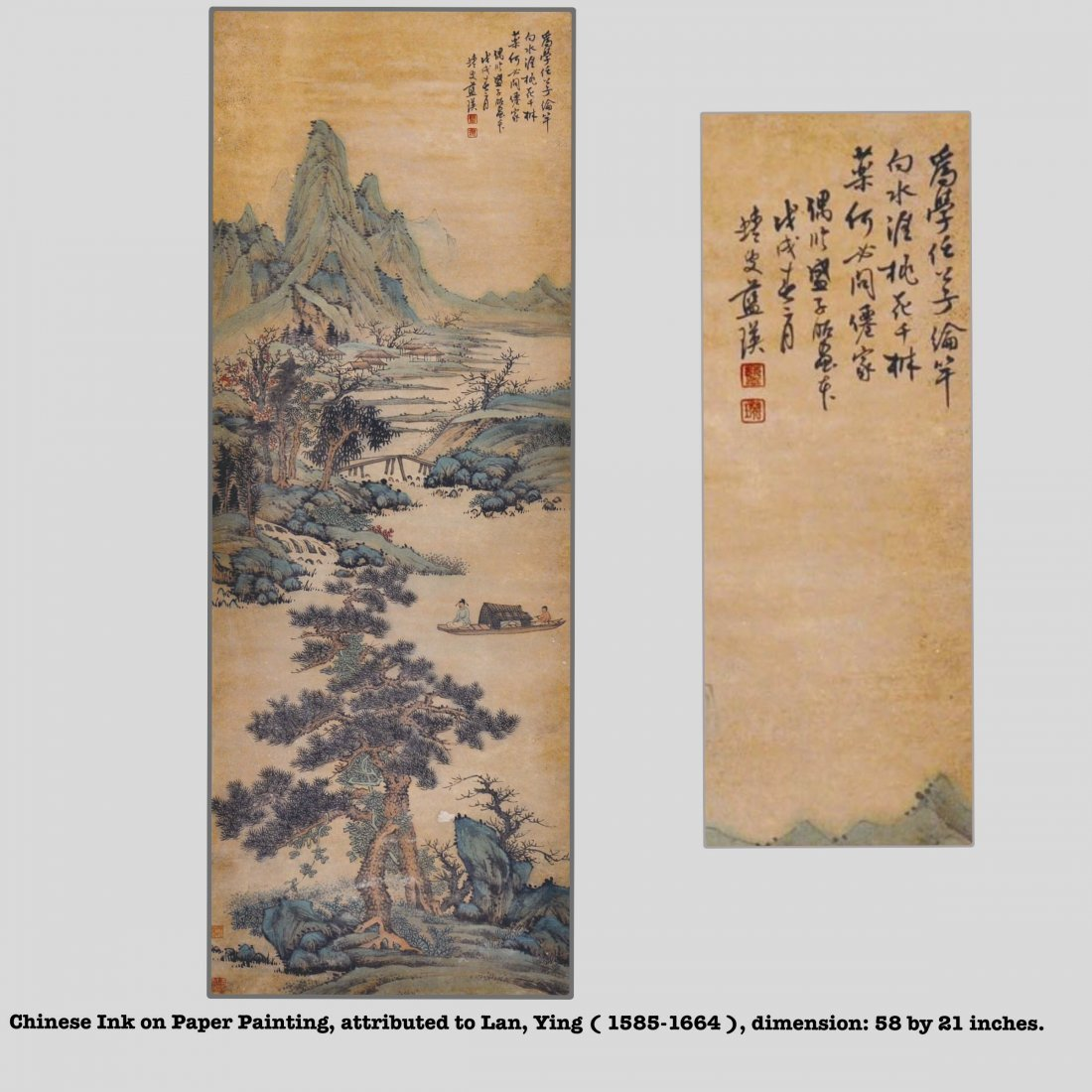 Chinese ink on Paper Scroll Painting, Qing dynasty