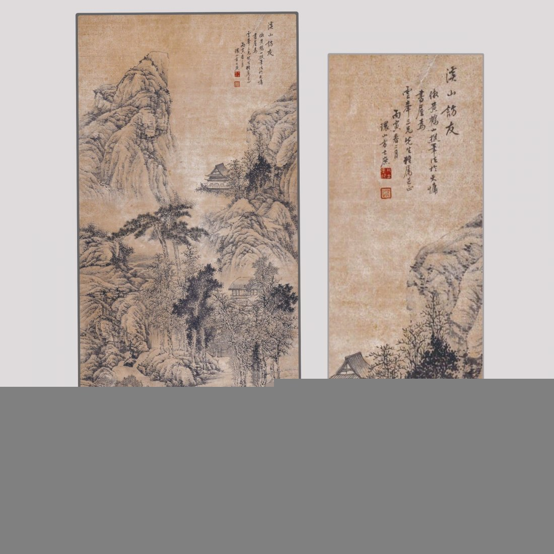 Chinese ink on Paper Scroll Painting,Qing dynasty