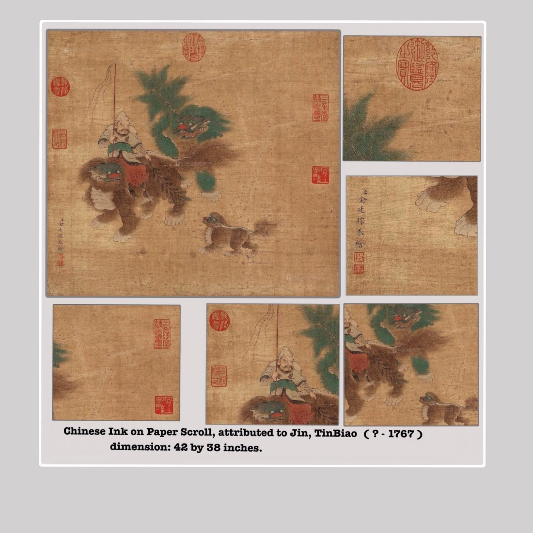 Chinese Color ink on Silk Scroll Painting