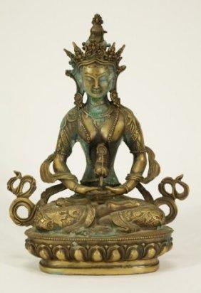 Nepal Gilt Bronze Buddha,Early Qing Dynasty