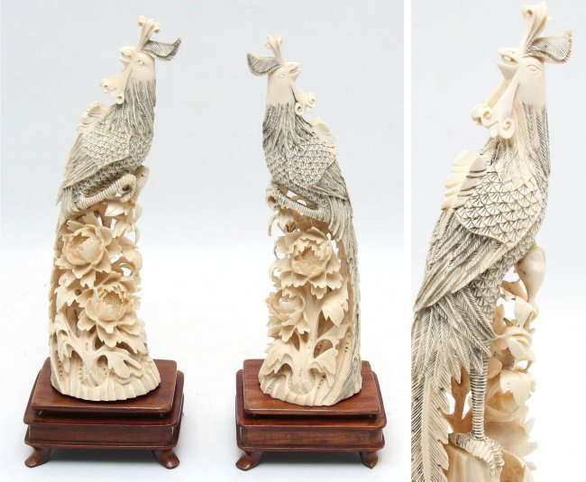 Two Ivory Phoenixes
