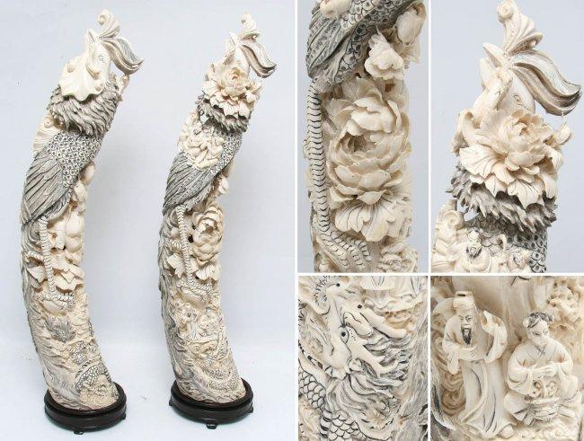 Two Big Ivory Phoenixes