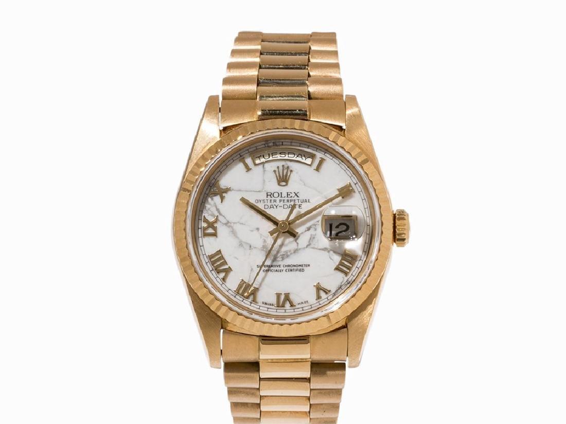 Rolex Day-Date Marble Dial, 18K Gold, Switzerland,