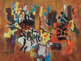 Isaac Pailes, Composition Abstraite, Oil, 2nd H. of