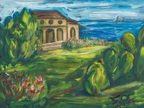 Felix Pfefferkorn, Villa on the Coast, Painting, 1975