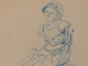 O. Strützel (1855-1930), Sitting Girl With Doll, c.