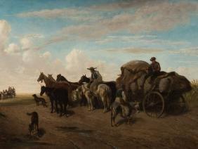 Heinrich Lang (1838-1891), Horse Carriage in Landscape,