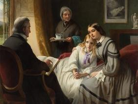 Thomas Brooks, The Reading, Oil Painting, 1859