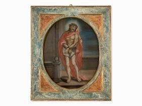 Ecce Homo, Reverse Glass Painting, Spanish School, 18th
