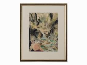 Friedrich Ludwig, Bathers and Waterfall, Chalks,
