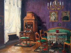 Paul Lothar Müller, Oil painting, Biedermeier interior,