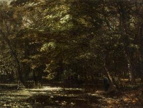 Carl Rodeck, Forest Landscape with Angler, Oil, around