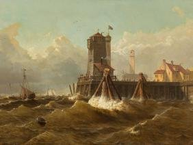 W. Barth, Harbor View in England, Oil, pres. 1920s