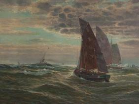 """Oil Painting """"Sailing Ships at Sea,"""" L. A. Heyendahl,"""