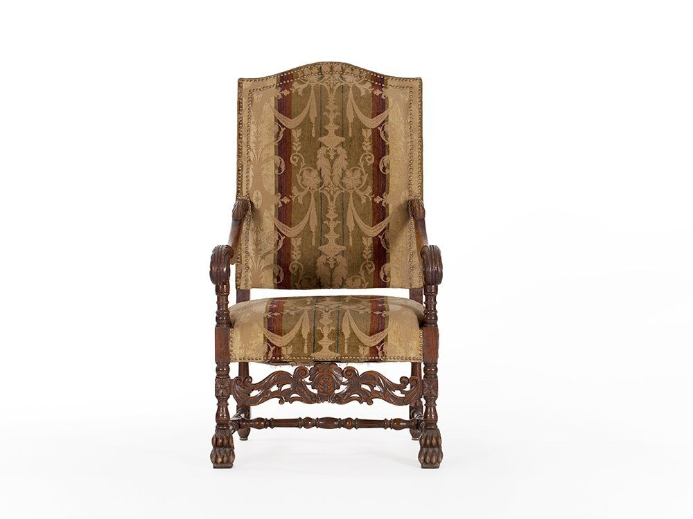 Baroque Style Armchair with Velvet Upholstery, around