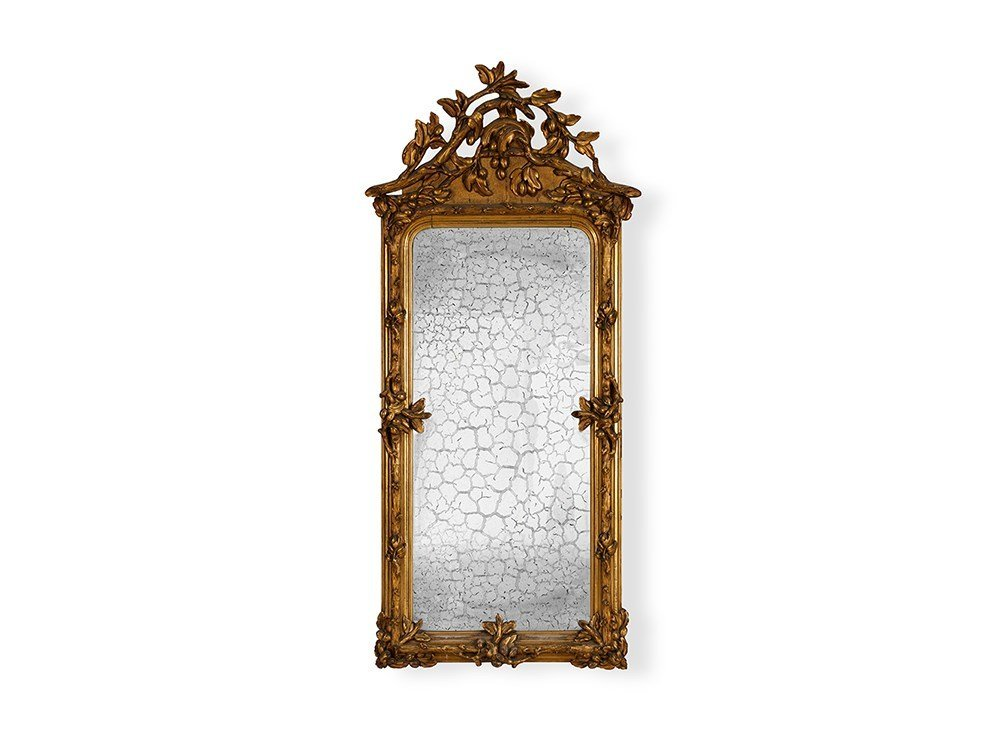 Grand Gilt Wall Mirror with Ornately Carved Frame, 19th