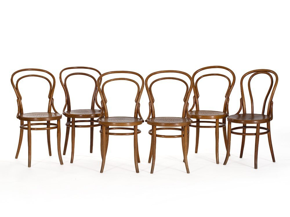 Six Bentwood Chairs with 'Hotel Bogota' Stamp, c.