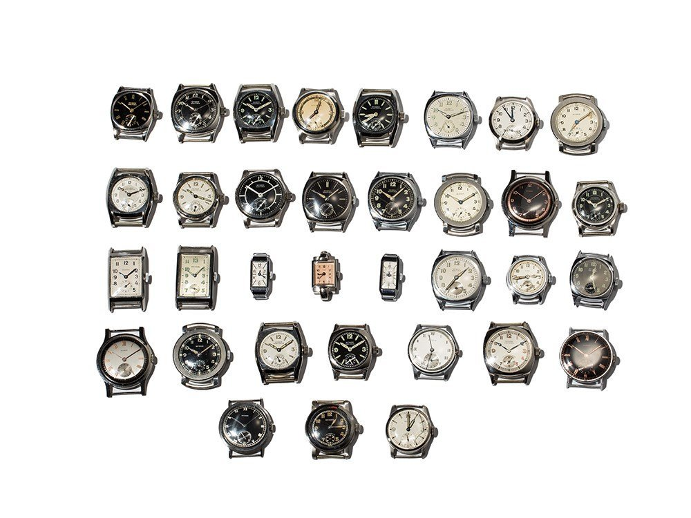Mixed lot Huber, 34 Watches, Switzerland, 1940s