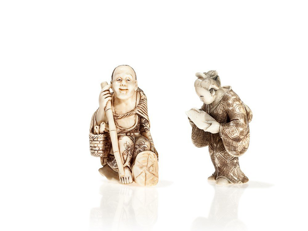 Two Signed Ivory Netsuke of a Fine Lady and a Scholar,