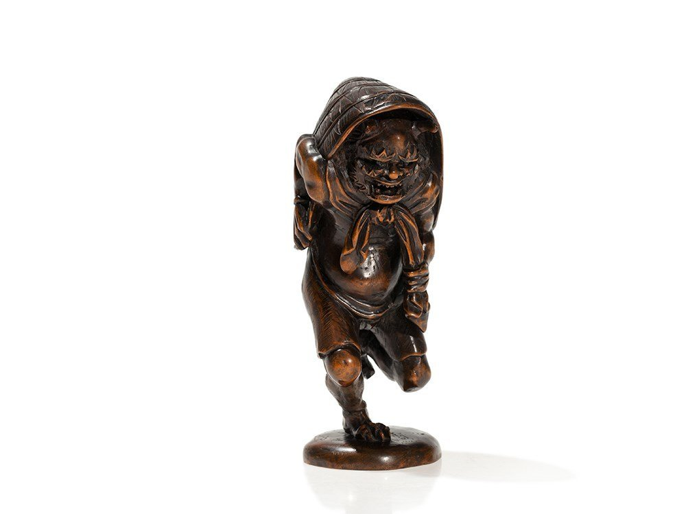 Signed Okimono of an Oni with Expressive Carving, Meiji