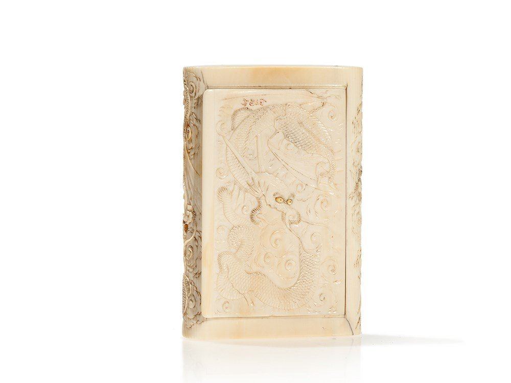 Signed Ivory Box with Fine Chased Dragon Décor, Japan,