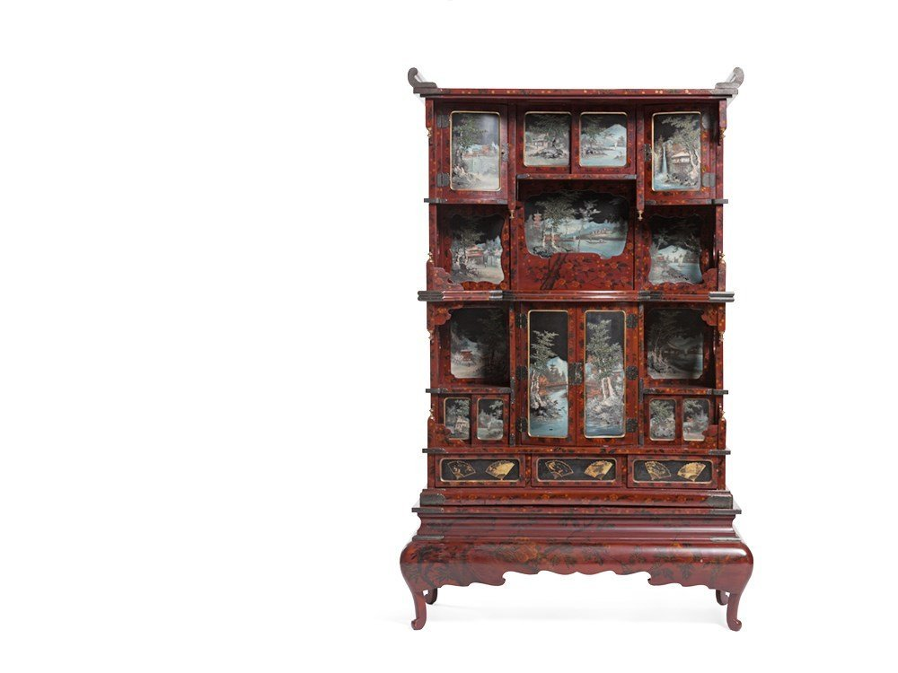 Imposing Japanese Lacquer Cabinet with Landscape