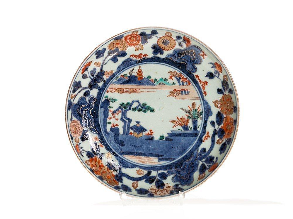 Imari Porcelain Plate with Landscape Scene, Japan, Edo,