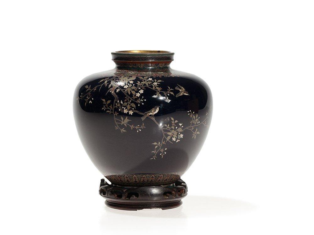 Cloisonné Vase with Floral Décor, Nagoya Style, Japan,