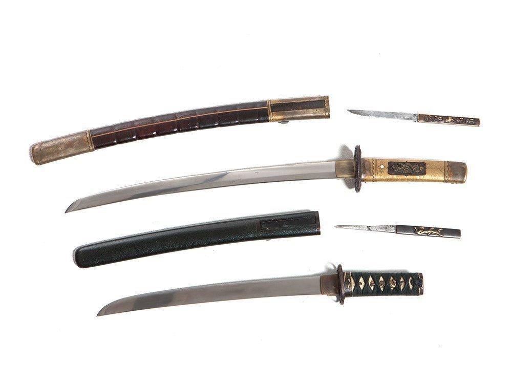 Two Wakizashi Japanese Swords and Scabbards, Meiji