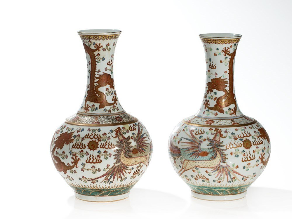Pair of Porcelain Vases with Dragon and Phoenix Décor,