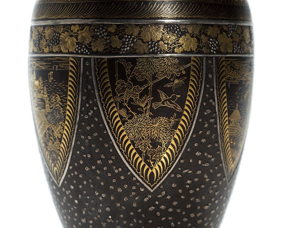 Komai Gold and Silver Inlaid Iron Vase with floral - 6