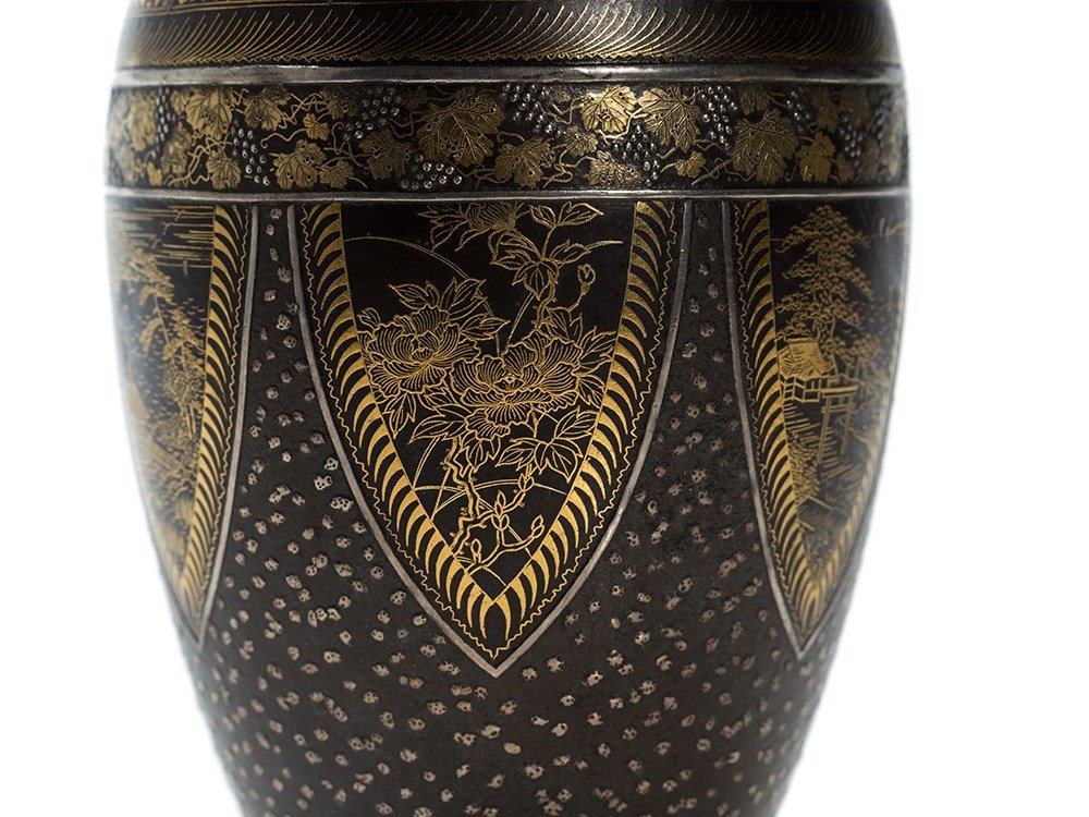 Komai Gold and Silver Inlaid Iron Vase with floral - 7