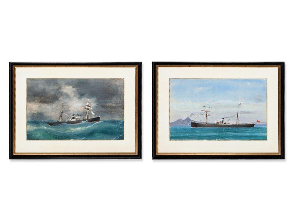 Antonio De Simone Workshop, Two Captain's Paintings, c.