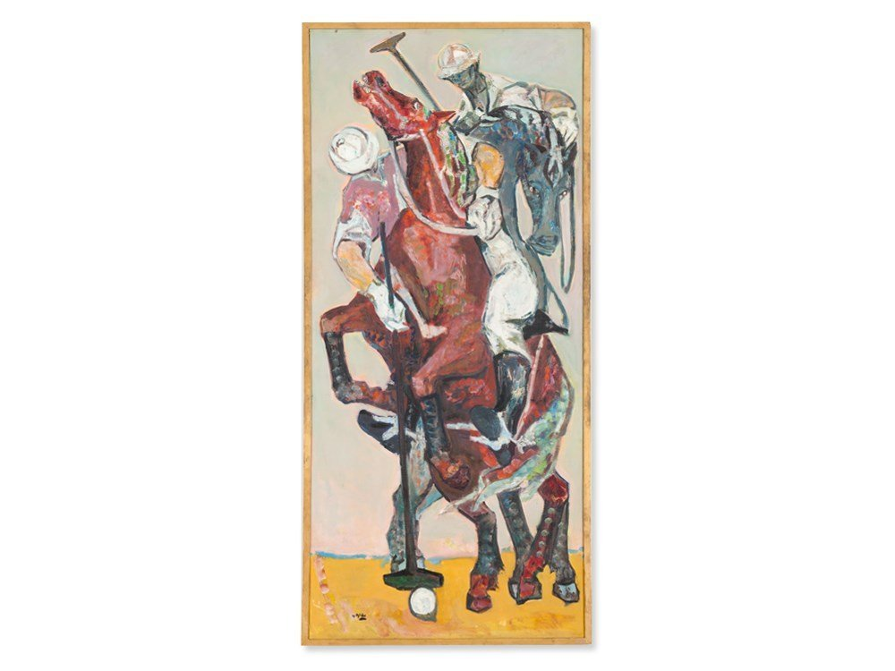 Yvette Alde (1911-1967), Oil Painting, 'Polo', 1954
