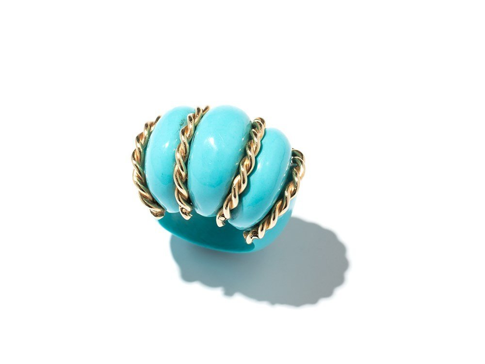Cocktail Ring, Gold and Composite Turquoise, USA, c.
