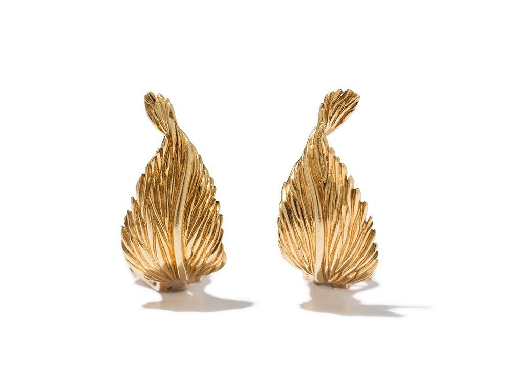 """Van Cleef & Arpels, Golden """"Leaf"""" Earclips, 1960s"""