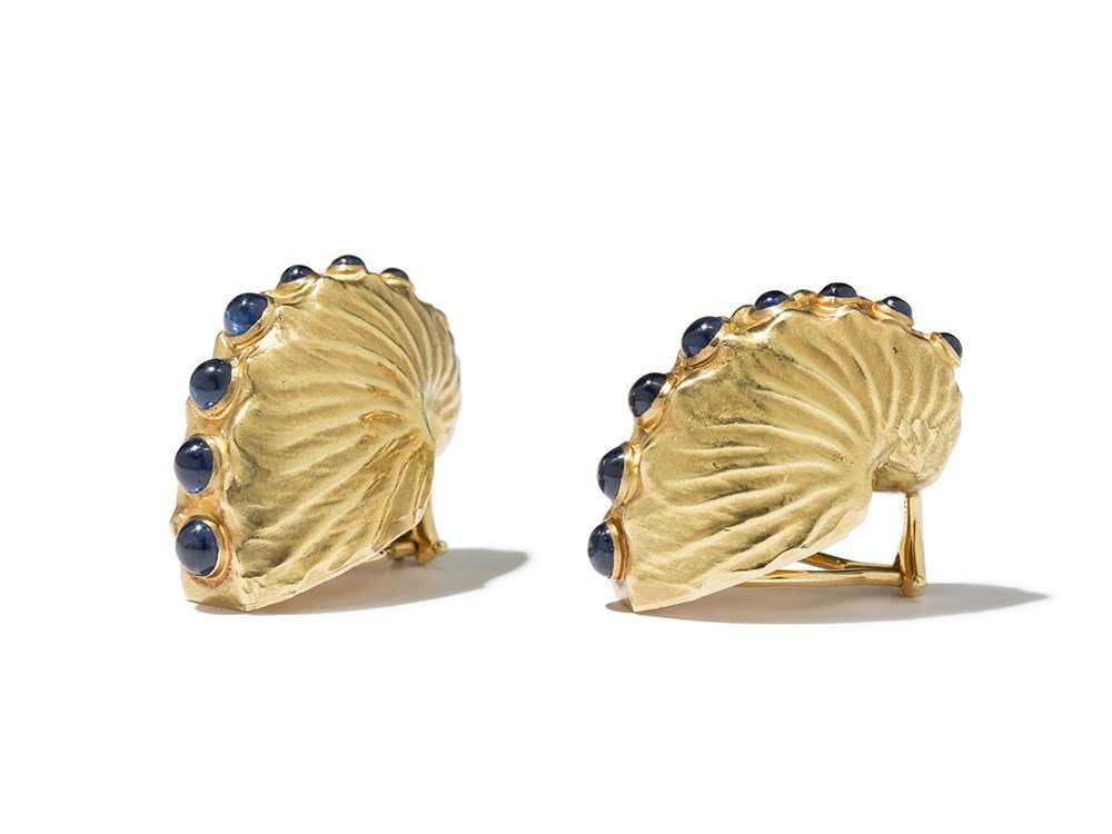 Verdura, Gold & Sapphire Nautilus Shell Earclips, 1990s