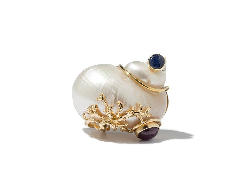 Seaman Schepps, Shell Brooch with Ruby & Sapphires,
