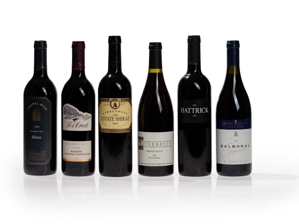 6 bottles of wine from Australia, 1996, 1998, 1999 and