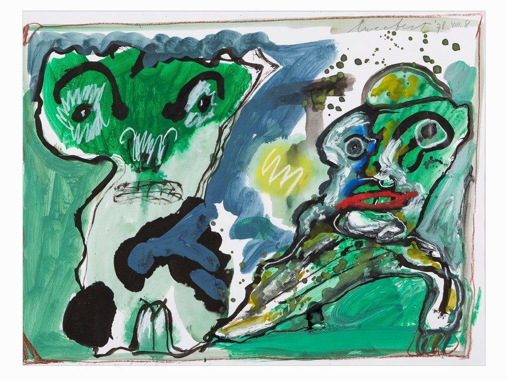 Lucebert (1924-1994), Mixed Media, Two Figures in