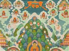 Thangka with Buddha Amitabha in Sukhavati Tibet