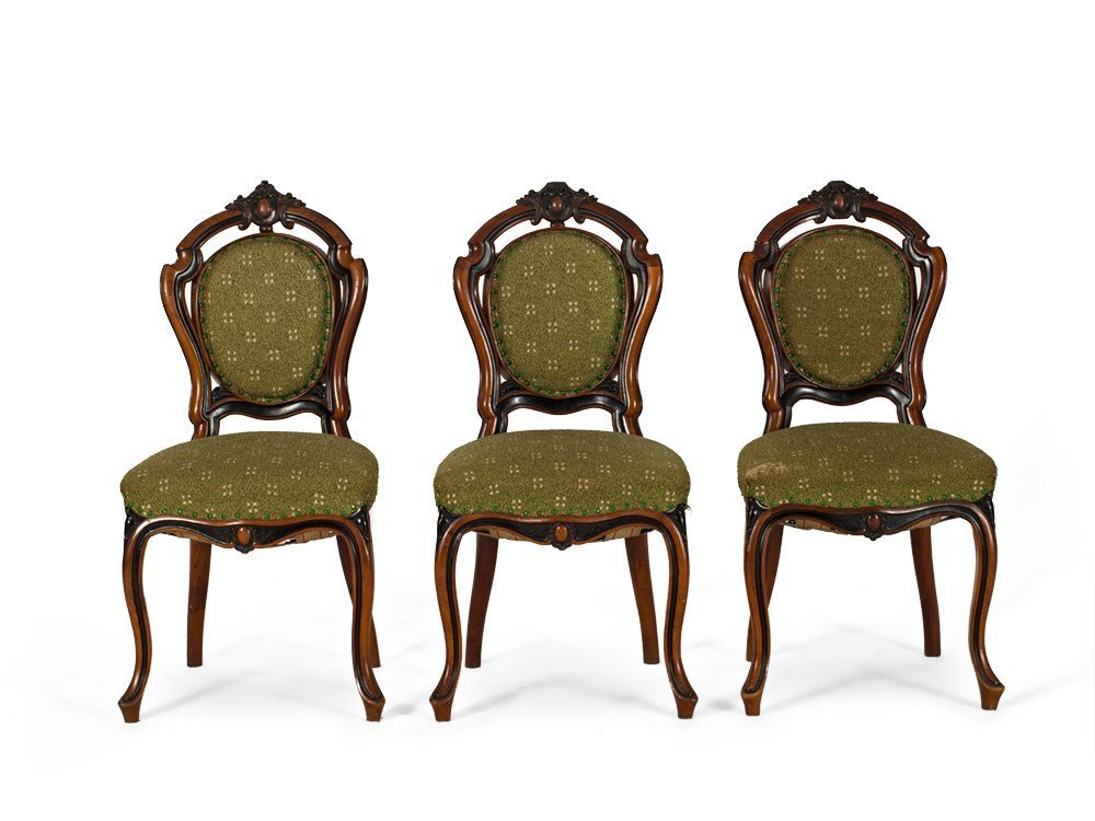 Three Chairs, Upholstery in Green, Louis Philippe, c.