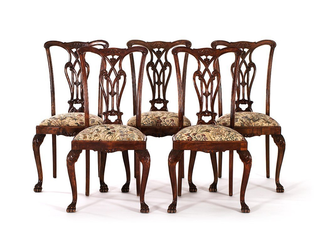 Five Victorian Chippendale Style Dining Chairs, around